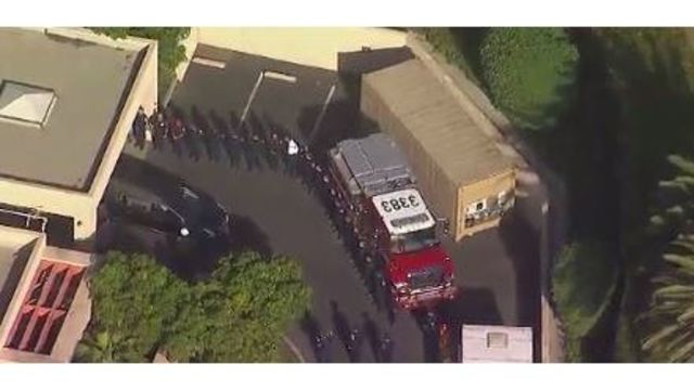Funeral procession begins for California firefighter