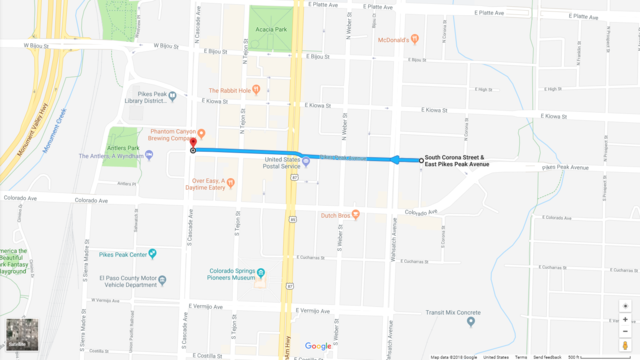 Bike Lanes Coming To Four Block Stretch Of Pikes Peak Avenue - Pikes-peak-on-us-map