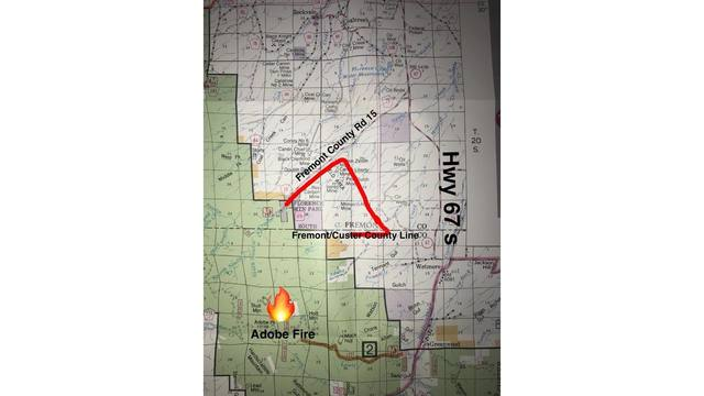 Wildfire burning on forest service land near Wetmore in Custer County