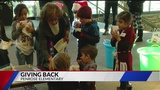 Penrose Elementary kindergartners collect socks and water for those in need