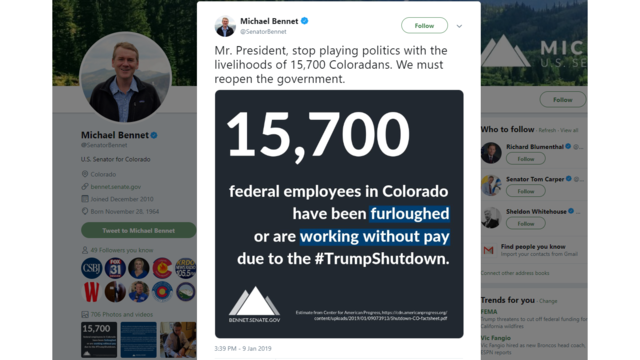 Senator Bennet: 15,700 Coloradans furloughed or working without pay